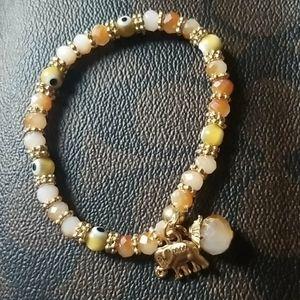 Elephant and Evil Eye bead Bracelet.